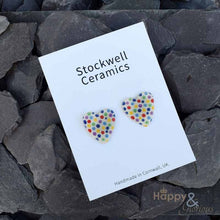 Multi-coloured spotty heart shaped ceramic stud earrings by Stockwell Ceramics