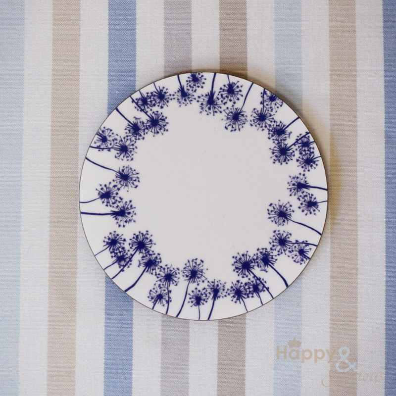 Navy blue & white dandelion silhouette wooden coaster by Kate Tompsett