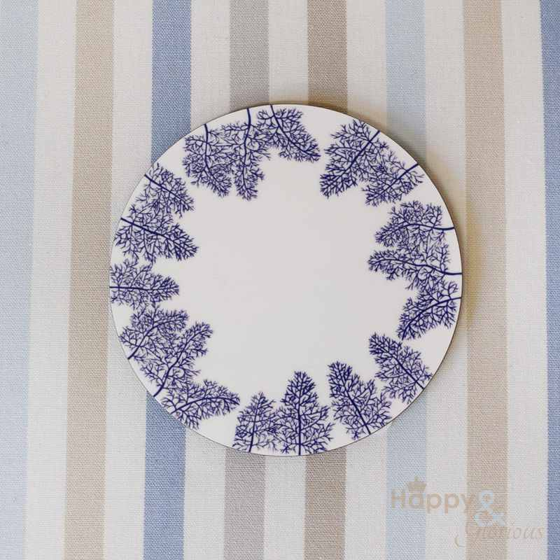 Navy blue & white fennel leaves silhouette wooden coaster by Kate Tompsett