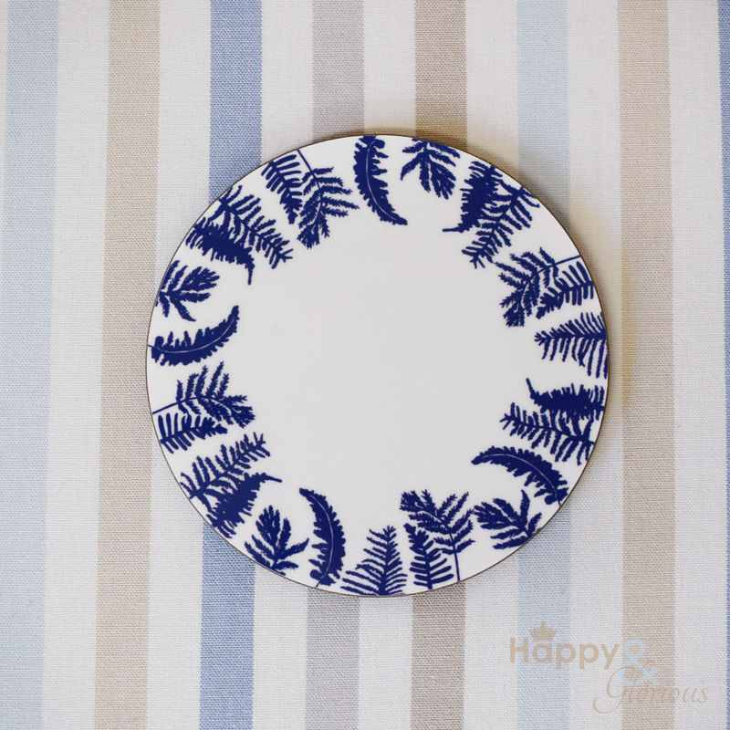 Navy blue & white fern silhouette wooden coaster by Kate Tompsett