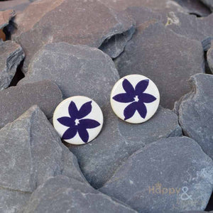 Navy blue flower ceramic stud earrings by Stockwell Ceramics