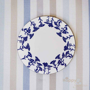 Navy blue & white sedum flower silhouette wooden coaster by Kate Tompsett