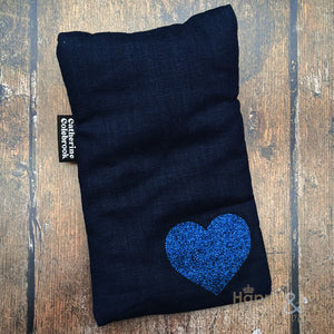 Linen mini hot water bottle with navy blue glitter heart