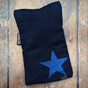 Linen mini hot water bottle with navy glitter star