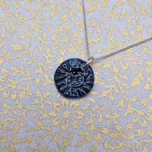 Deep blue 'midnight' ceramic and sterling silver necklace