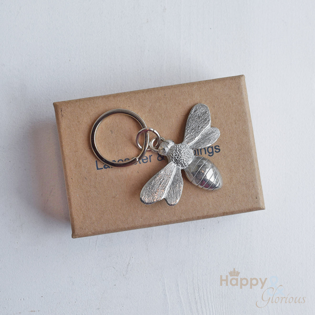 Pewter bee keyring - handmade by Lancaster & Gibbings