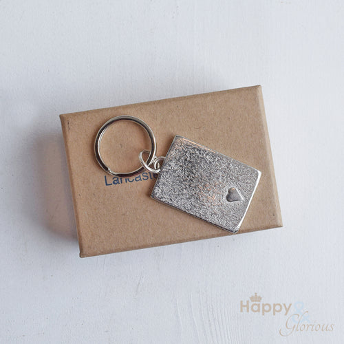 Pewter embossed heart keyring - handmade by Lancaster & Gibbings