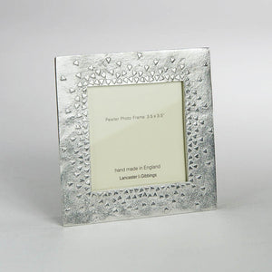"Pewter 'floating hearts' 3.5"" square frame by Lancaster & Gibbings"