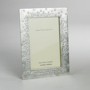 "Pewter 'floating hearts' 6x4"" frame by Lancaster & Gibbings"