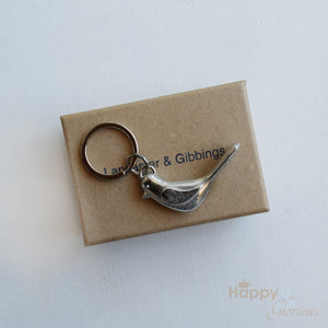 Pewter bird keyring - handmade by Lancaster & Gibbings