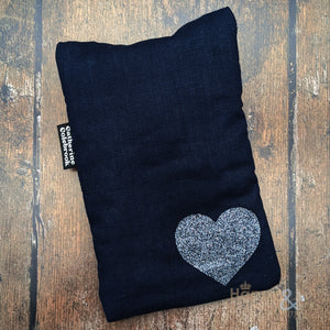 Linen mini hot water bottle with pewter glitter heart