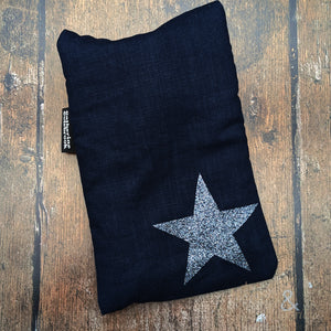 Linen mini hot water bottle with pewter glitter star