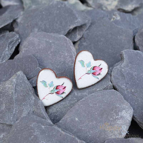 Pink rose heart shaped ceramic stud earrings by Stockwell Ceramics