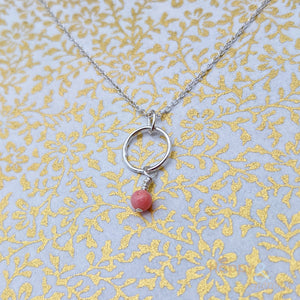 Sterling silver & coral hoop necklace