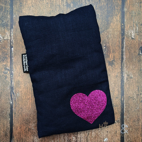 Linen mini hot water bottle with pink glitter heart