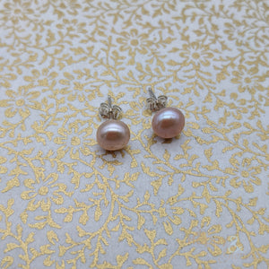Pink pearl & sterling silver studs