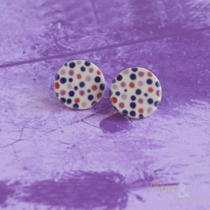 Pink & purple spotty ceramic stud earrings by Stockwell Ceramics