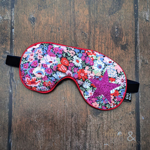 Lavender filled Liberty fabric eye mask with pink glitter star
