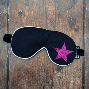 Lavender filled linen fabric eye mask with pink glitter star