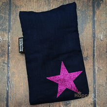 Linen mini hot water bottle with pink glitter star