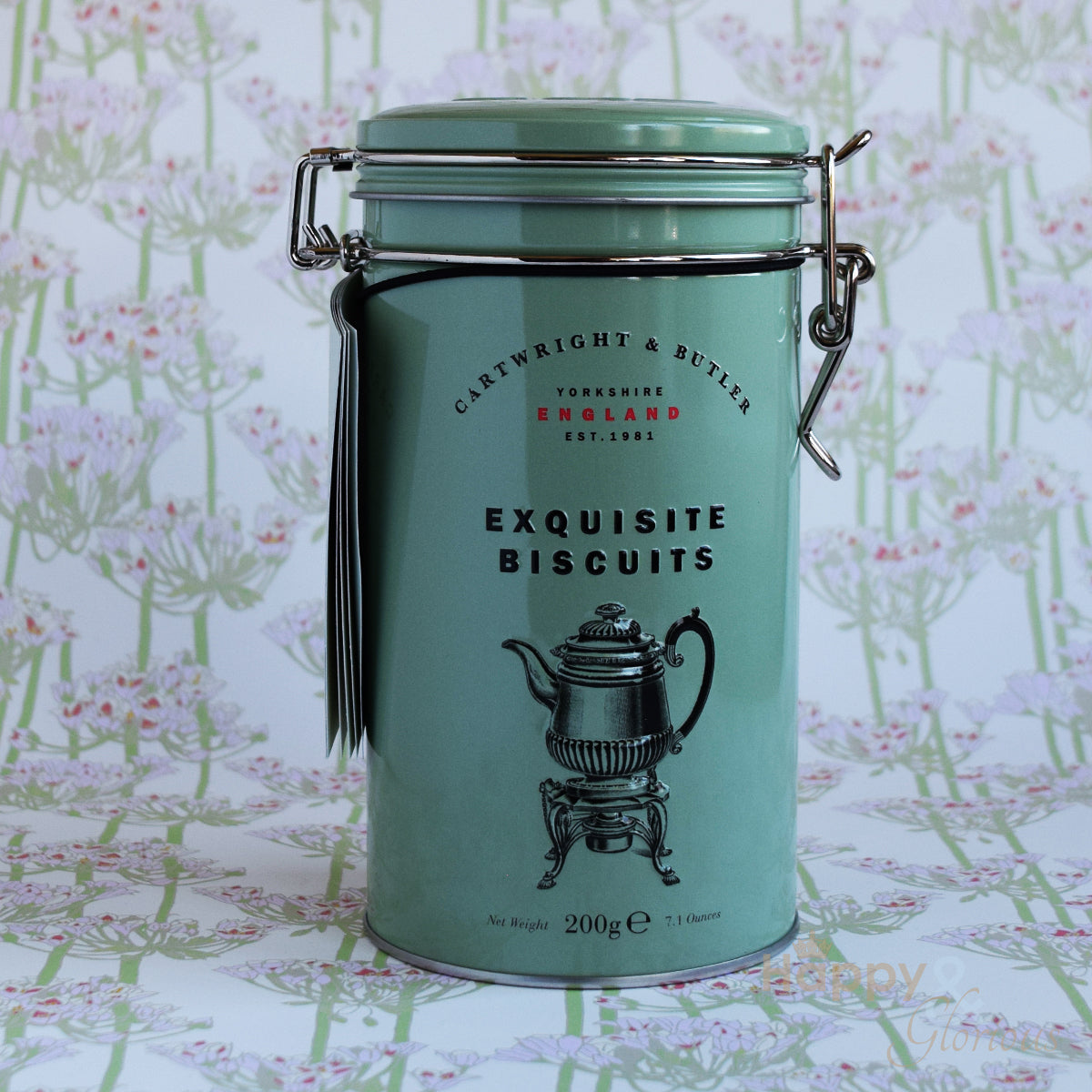 Pistachio shortbread biscuits in vintage style tin