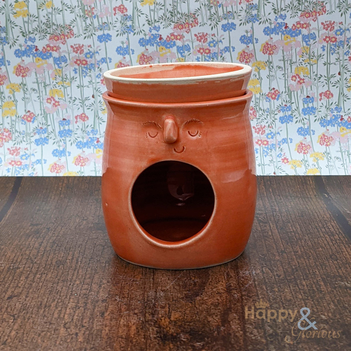 Hand thrown poppy pink stoneware face oil burner