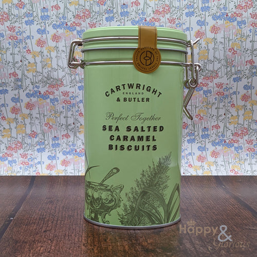 Salted caramel biscuits in vintage style tin