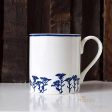 Navy blue & white sedum flower silhouette fine china mug by Kate Tompsett