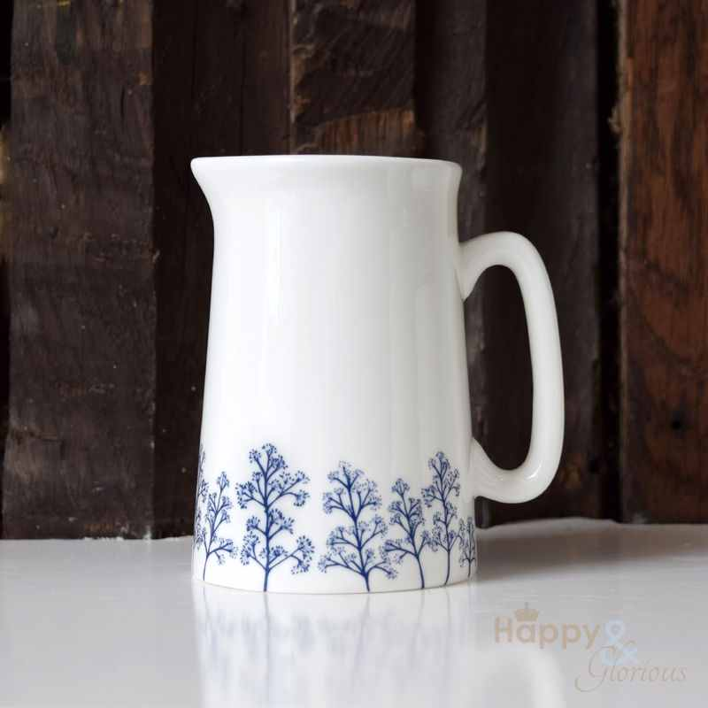 Navy blue & white skimmia silhouette half pint fine china jug by Kate Tompsett
