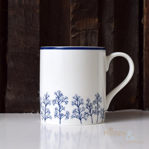 Navy blue & white skimmia silhouette fine china mug by Kate Tompsett