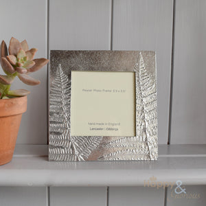 "Pewter 'ferns' 3.5"" square frame by Lancaster & Gibbings"