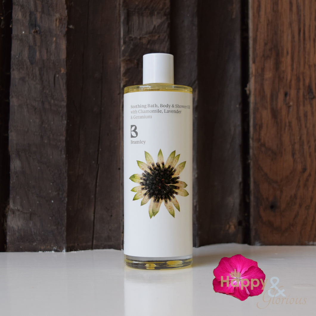 Soothing bath, body & shower oil with Chamomile, Lavender & Geranium by Bramley Products