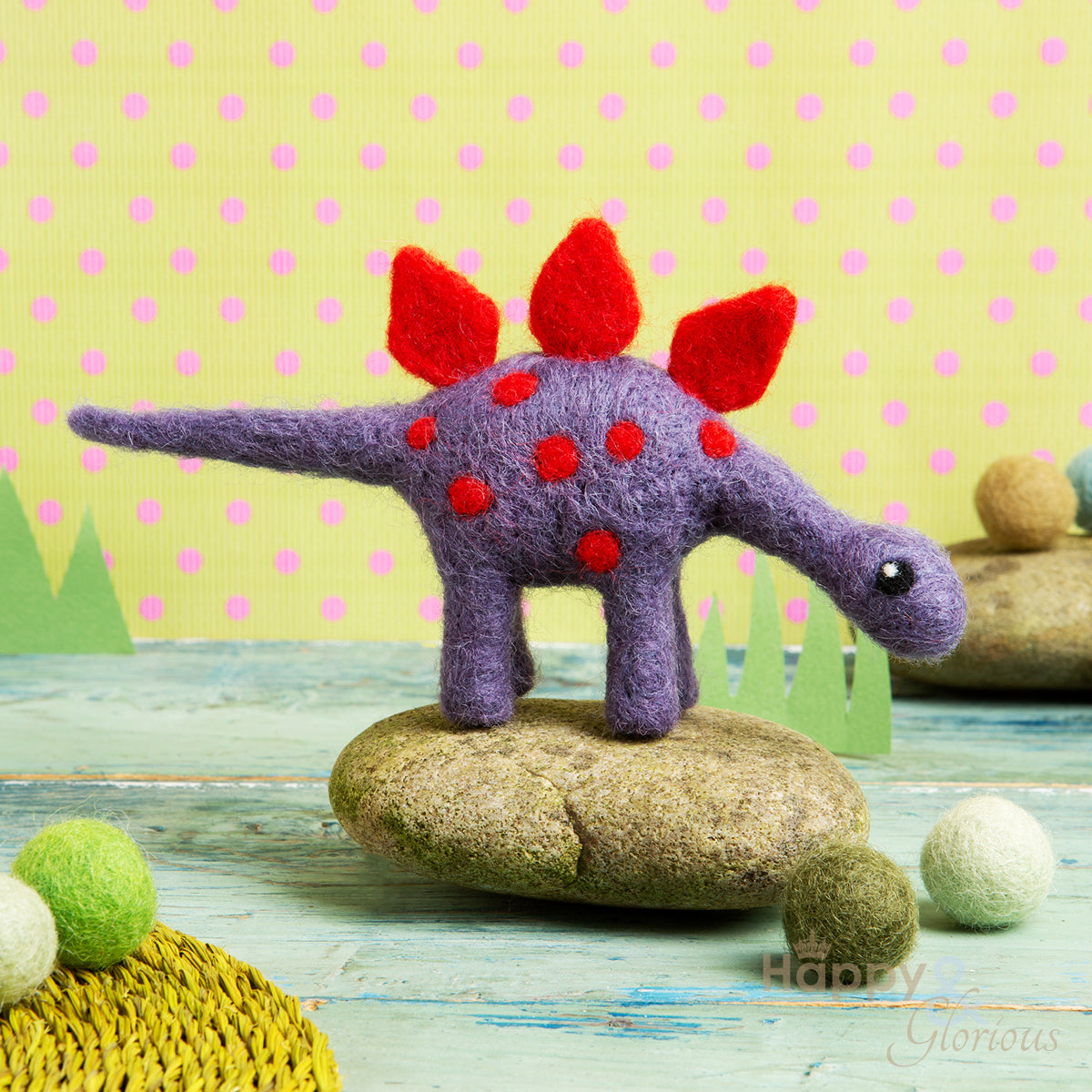 Mini stegosaurus needle felting craft kit