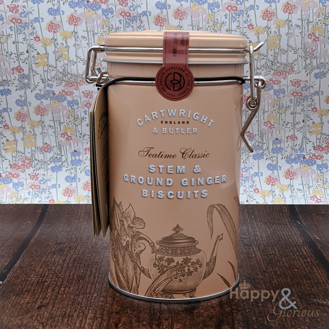 Stem ginger biscuits in vintage style tin