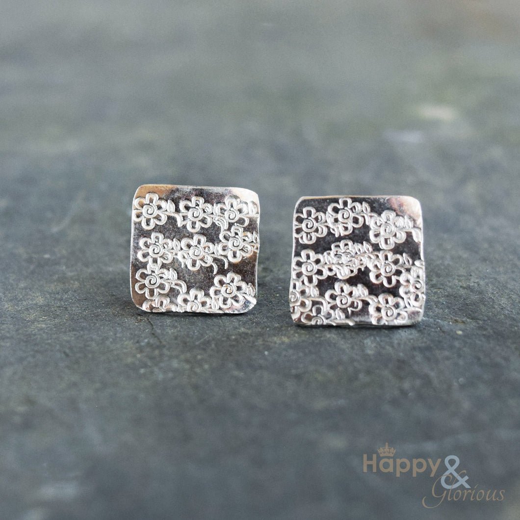 Sterling silver flowered square stud earrings