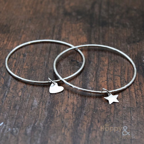 Sterling silver charm bangle