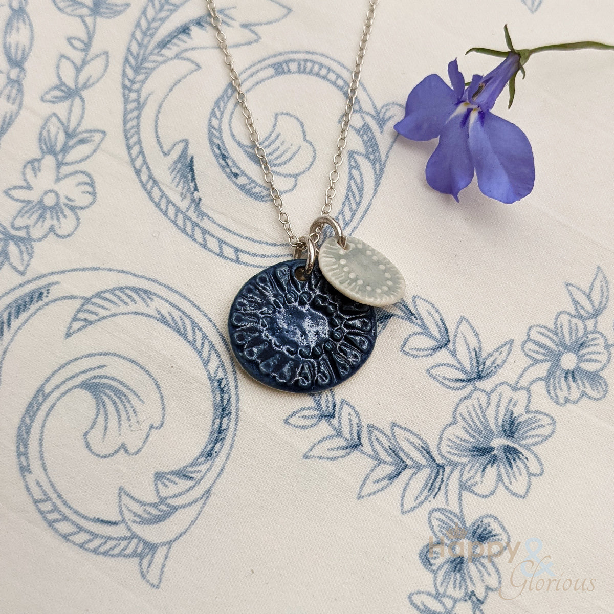 Blue double 'teal & sea' ceramic and sterling silver necklace