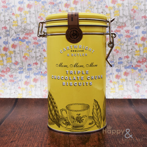 Triple chocolate chunk biscuits in vintage style tin