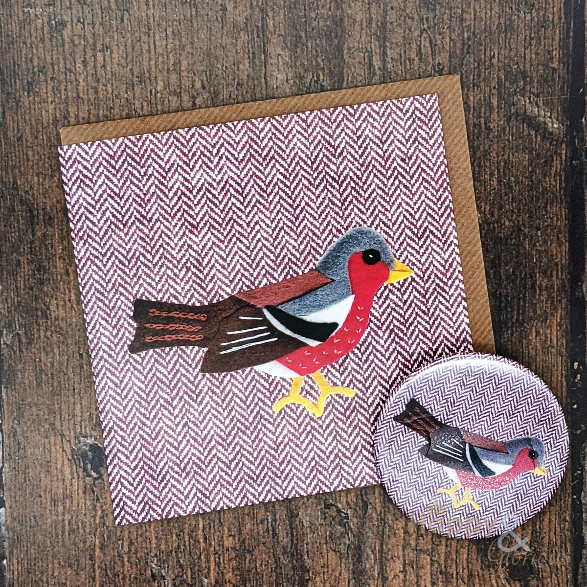 Tweedy birds chaffinch pocket mirror & card