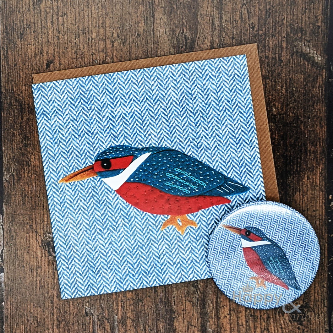 Tweedy birds kingfisher pocket mirror & card