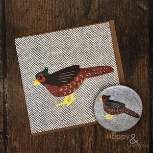 Tweedy birds pheasant pocket mirror & card