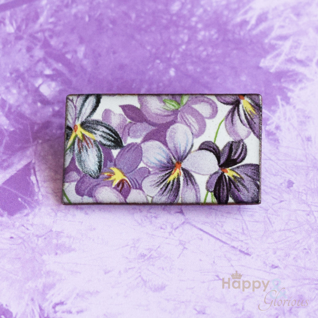 Violets ceramic brooch by Stockwell Ceramics