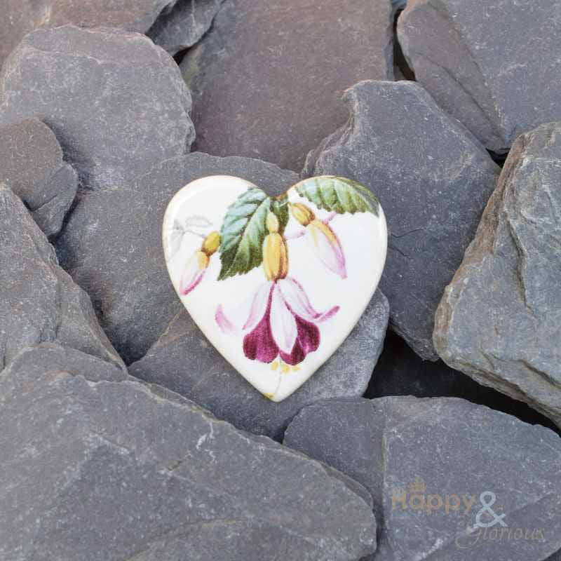 Pink fuschia flower ceramic heart brooch by Stockwell Ceramics