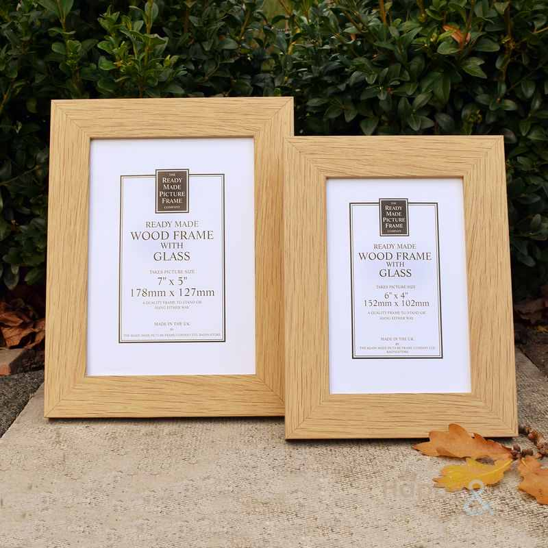 Natural oak wooden photograph frame in two sizes