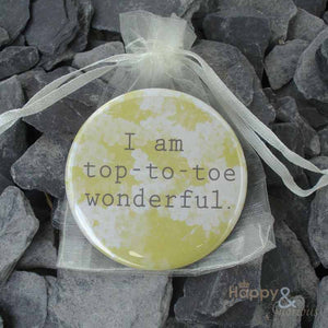 Yellow 'I am top-to-toe wonderful' pocket mirror in gift bag
