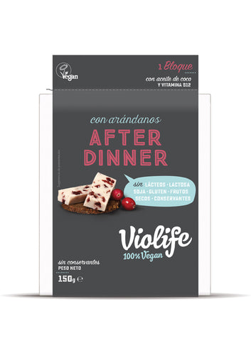 BLOQUE VEGANO AFTER DINNER SABOR QUESO CON ARÁNDANOS 150G VIOLIFE - Herbolario El Búho