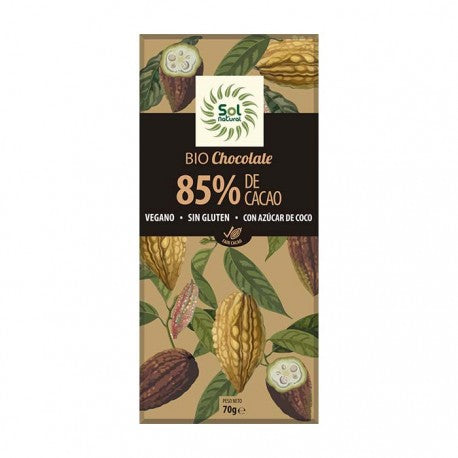 TABLETA DE CHOCOLATE 85% CACAO BIO SOL NATURAL