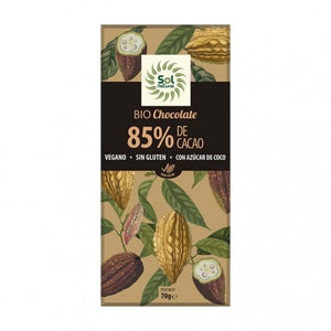 TABLETA DE CHOCOLATE 85% CACAO BIO SOL NATURAL - Herbolario El Búho