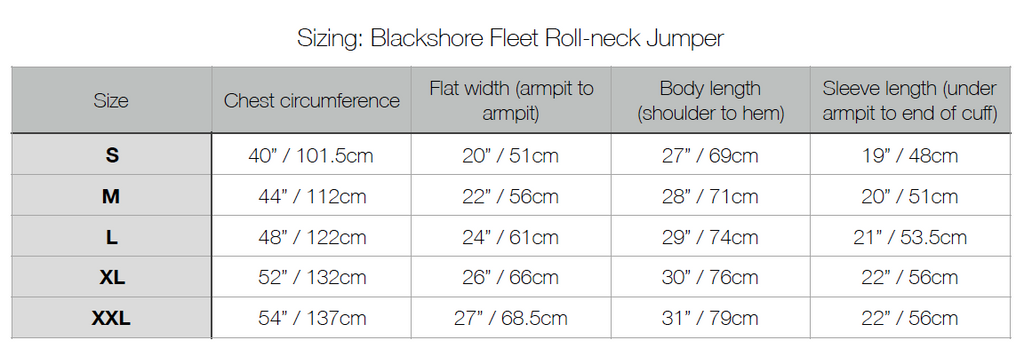 Blackshore Fleet Roll Neck Jumper Sizing