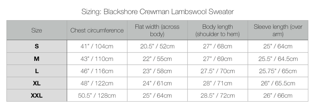 Blackshore Crewman Lambswool Sweater Sizing Chart